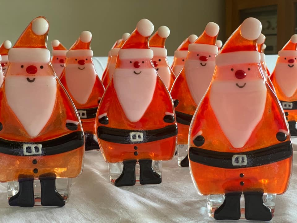 Father Christmas glass decorations created by Alison from Goosey Glass