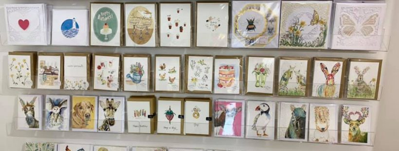 Display of greetings cards at cotswold glass and crafts