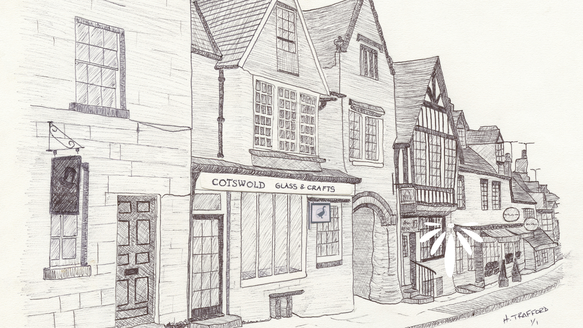 Henry Trafford Handrawn Picture of the shop on Burford Highstreet